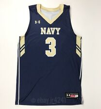 New Under Armour Navy Midshipmen Men's L Armourfuse Drain Basketball Jersey Blue