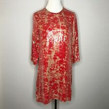 Parker Red Silk and Sequin Shift Dress 3/4 Sleeves, Size Small