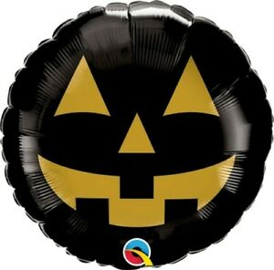 """18"""" Inch 46 Cm Qualatex Balloon Round Foil Jack Face Black & Gold Party supplies"""