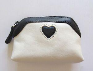 Brighton Coin Purse/Pouch- leather- black & white- heart top zip