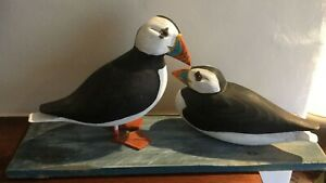 Atlantic Puffins Carved And Mounted By Geoffrey Bickley Cornish Artist Sea Birds