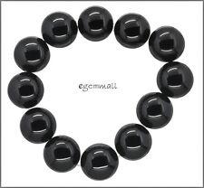 "12 Large Black Onyx Round Beads ap. 16mm 7.8"" #58064"