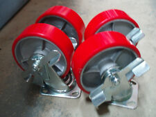 """Brand New Set of 4 x 6"""" poly over cast casters, swivel with brake wheels"""
