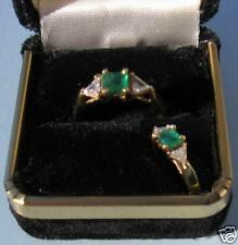 14K Solid Gold 1/2c Colombian Emerald Ring 2 Triangle Diamonds Beautiful New