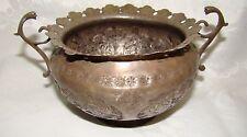 antique persian silver bowl 237g handle floral birds
