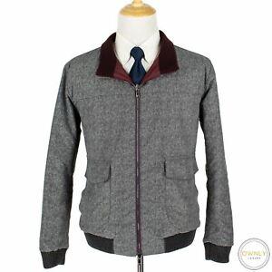 CURRENT Isaia Grey Wine Aqua Canvas Glossy H-Bone Reversible Blouson Jacket 44US