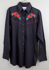 WOMENS BLACK ELY COUNTRY CHARMERS ROSE EMBROIDERED WESTERN SHIRT Cowgirl Top S