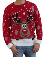 Mens Adults Retro Knitted Vintage Rudolph Reindeer Xmas Christmas Jumper Sweater