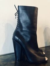 GIVENCHY New Authentic Black Leather Peep-Toe Heel Boots Booties Size 7