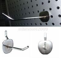 25 x Single Pegboard Slatwall Hooks Display Shop Prong Hanger Plate