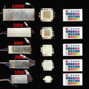 RGB led chip 10W/20W/30W/50W/100W RGB driver 24Key Remote for floodlight bulbs