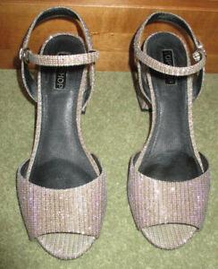 Topshop Gold Sparkle Block Heel Peep Toe Strappy Heels 5