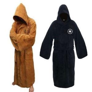Men's Hooded Fleece Bathrobe Cloak Gown Robe  Sleepwear Jedi Knig Cloak