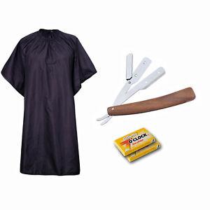 Holz Rasiermesser mit Gillette Klingen und Umhang Rasierklingen Nassrasur Razor