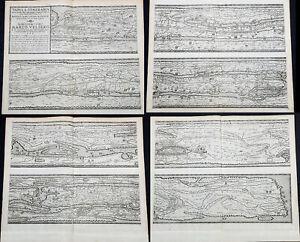 1598 Moretus & Ortelius 1st Ed Rare The Peutinger Tables, Ancient Rome, 4 x Maps