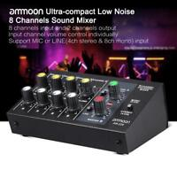 Ultra-compact Low Noise 8 Channel Metal Mono Stereo Audio Sound Mixer Black K7A9