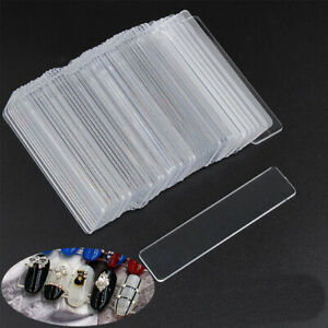 LN_ 50Pcs/Lot Nail Art Tips Strip Stand Clear Acrylic Holder Display Stand She