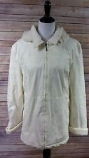 Womens Lee Outerwear All Weather Jacket Coat Ivory Removable Faux Fur Hood Sz XL