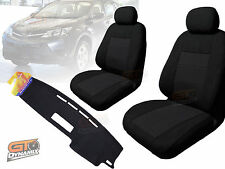 Seat Covers Black + Dash Mat Bundle Suit TOYOTA RAV 4 40 SERIES Jan/2013-2018