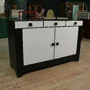 Commode Bois Commode Meuble Design Simili Cuir Style Moderne Vintage 2 Porte 900