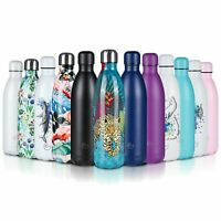 Stainless Steel Water Bottle Double Wall Vacuum Insulated Gym Metal Flask Sports