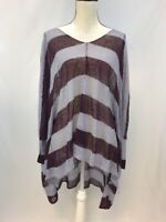 Free People Women's Purple/Burgundy Striped Poncho Sleeve Sheer Blouse Sz XS/S