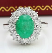 4.40 Carat Natural Emerald and Diamonds in 14K Solid White Gold Ring