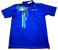 FSP NBS News Golf New Mens Blue Short Sleeve Polo Shirt Size Large
