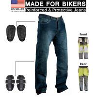 Motorcycle Biker Denim Jean Protective Lining Knee Armour Motorbike Trouser Pant
