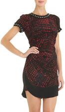 $510 ISABEL MARANT ETOILE Trash Rouge Print Silk Dress Sz 1 Black Red