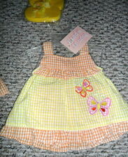 Mon Petit Baby Girls Gingham Outfit Dress Diaper Cover Flip Flops 3/6 Months NWT