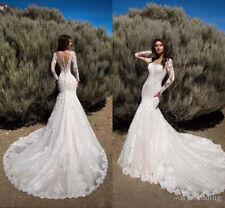 Wedding Dresses Long Sleeves Mermaid Backless Plus Size 4 6 8 10 12 14 16 18 20