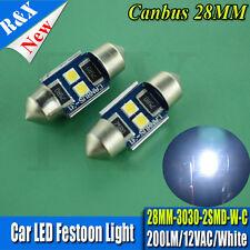 2x 28mm 3030 2 SMD LED Car Festoon Dome Map Light Canbus Bulbs ERROR Free White