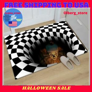 Halloween Scary Floor Mat 3d Sewer Manhole Cover Horror Home Carpet Clown Trap