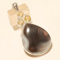 Natural Botswana Sardonyx Onyx Agate Pendant 925 Sterling Silver Easter Jewelry