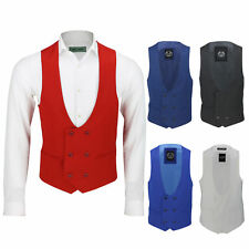 Mens Double Breasted Low U Cut Formal Suit Waistcoat Fitted Smart Casual Vest