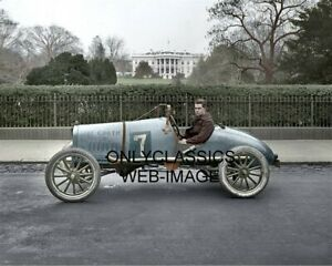 1922 COOTIE RACER INDY 500 CAR WHITE HOUSE COLORIZED PHOTO AMERICANA AUTO RACING