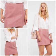 Free People Modern Femme Vegan Suede Mini Skirt Rose Size 10 NWT
