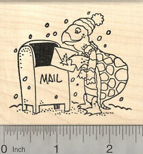 Christmas Card Turtle Rubber Stamp, Tortoise Mailing Holiday Greeting K26304 WM