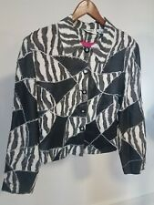 Vintage Anage Jacket Sz S Black/White. Fuchsia Zebra Beaded Size Small