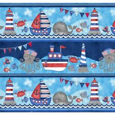 ANCHOR'S AWAY Nautical Running Stripe Quilt Fabric by StudioE for sale by 1/2 Yd