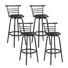 4x Bar Stools PU Leather Barstool Swivel Backrest Kitchen Chairs Black 5033