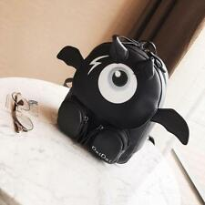 Funny Women Backpack Black Faux Leather Bag for Teenagers Girls Monster Eye