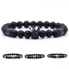 Natural Black Bead Lava Stone Metal Cubic Zircon Crystal Crown Men Fashion Gift