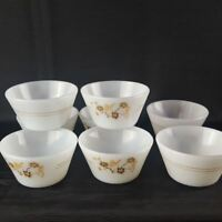 Termo-Rey Milk Glass made in Brazil 8 pcs Small Bowl Country Scene Butterfly Vtg