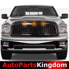 09-12 Dodge RAM 1500 Raptor Style Gloss Black Mesh Grille+Shell+Amber LED light