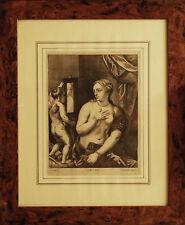 VENERE E CUPIDO - Incisone Originale 1600 - TIZIANO cm 16x22