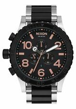 **BRAND NEW** NIXON WATCH THE 51-30 CHRONO BLACK / ROSE GOLD A0832051 NIB!