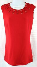 INC Top  Grommet Trim Neckline  Size M Solid Real Red  NWT $59.50