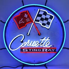 "Corvette C2 Stingray Round Sign Auto Garage Banner Neon Light Sign 24"" by 24"""